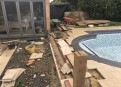 Travertine patio being modified