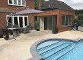 Pool room with bi-folds open
