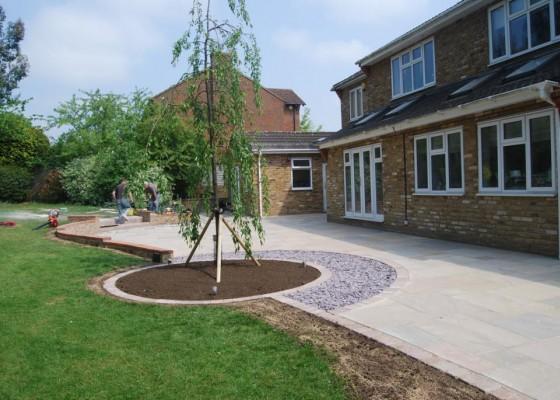 New patio with ornamental Cherry Blossom tree